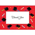 Red Border Grad Hat & Scrolls Thank You Note Cards