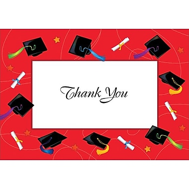 Great Papers® Red Border Grad Hat & Scrolls Thank You Note Cards