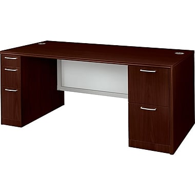 Hon®  Attune Series 72in. Double Pedestal Desk, Frosted Modesty Panel, Mahogany