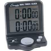 "Champions Dual Timer/Clock with Jumbo 1"" Display, Black, 4 1/2""H x 3 1/2""W x 1""D"