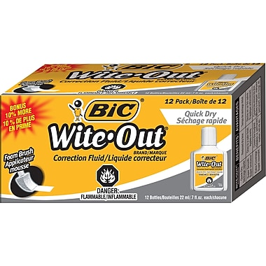 BIC® Wite-Out® Quick-Dry Correction Fluid with Foam Applicator, 12/Pack