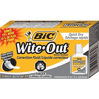 BIC® Wite-Out® Quick-Dry Correction Fluid, 3/Pack