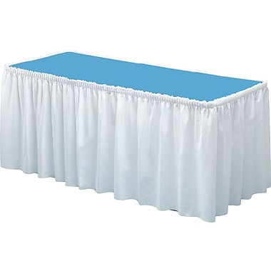 Tablemate® Table Set® Fabric Table Skirt, 14' L x 29in. W, White