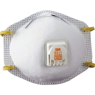 3M Particulate Respirators 8511, N95 with 3M Cool Flow™ Exhalation Valve, 10/Box