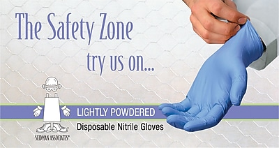 Safety Zone Nitrile Disposable Gloves Powdered Blue Large 100 Box