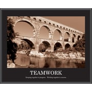 """Teamwork"" Framed Motivational Print, Sepia"