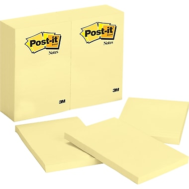 Post-it® 4in. x 6in. Canary Yellow Notes, 12 Pads/Pack