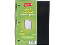 Staples Graph Ruled 4 x 4 Spiral Notebook, Assorted Colors, 8' x 10-1/2', Each (11625M)