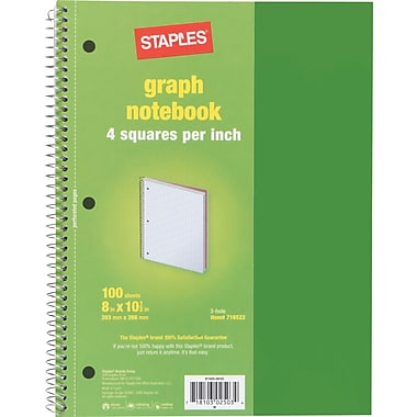 Staples® Graph Ruled 4x4 Spiral Notebook, 8in. x 10-1/2in., Green
