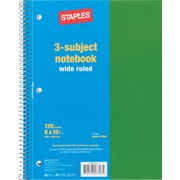 Staples® 3 Subject Notebook, 8 x 10 1/2, Wide Ruled, 120 Sheets
