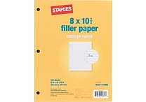 Staples® College Ruled Filler Paper, 8' x 10-1/2'