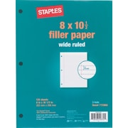 Staples Wide Ruled Filler Paper, 8in. x 10-1/2in.
