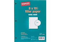 Staples® Wide Ruled Filler Paper, 8' x 10-1/2'