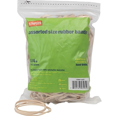 Staples Economy Rubber Bands Size #54, Assorted, 1/4 lb.