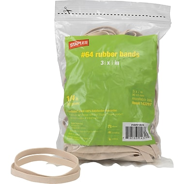 Staples Economy Rubber Bands, Size #64,  1/4 lb.