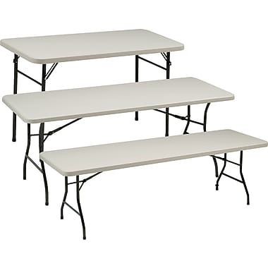 Sudden Solutions™ Standard-Grade Resin Folding Banquet Tables, Cream/Mocha