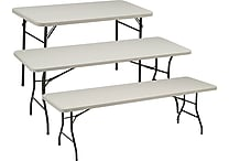 Sudden Solutions™ Standard-Grade Folding Banquet Tables, Cream/Mocha