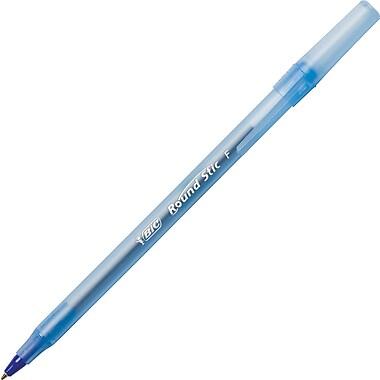 BIC® Round Stic Ballpoint Pens, Fine Point, Blue, Dozen
