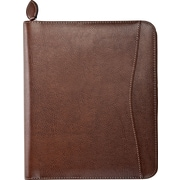 Day-Timer® Basque Bonded Leather Starter Set, Wire-Bound, Zip Closure, Brown Timber Folio Size