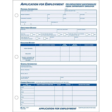 Adams Employment Application Forms, 8-1/2in. x 11in., 1 Part