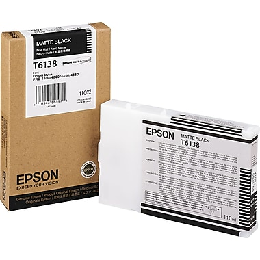 Epson T613 110ml Matte Black UltraChrome Ink Cartridge (T613800)
