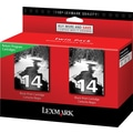 Lexmark 14 Black Return Program Ink Cartridges, 2/Pack
