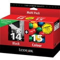 Lexmark 14/15 Black and Color Return Program Ink Cartridges, 2/Pack