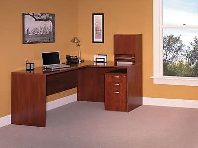 Bush Business Furniture 66 W x 52 D L WorkStation w Micro Hutch and 3 Drawer Mobile Pedestal Hansen Cherry 3699CL 03KFA