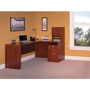 Bush Business Venture 66W L-WorkStation with Micro Hutch and 3-Drawer Pedestal, Hansen Cherry, Installed