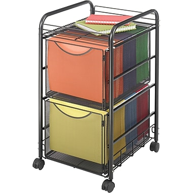 Safco® Onyx™ 5212 Mesh File Cart With 2 File Drawers, Black