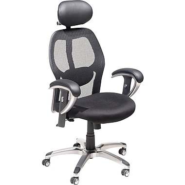 Staples® Mesh Managers Chair with Headrest, Black and Chrome