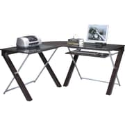 OSP Design™ X-Text Glass Top L-Desk