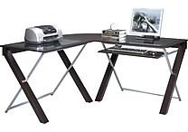 OSP Design™ X-Text Glass Top L-Desk