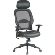 SPACE® Air Grid™ Mesh and Leather Executive Mid-Back Chair with Headrest, Black
