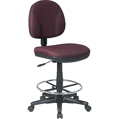 Office Star™ Fabric Armless Drafting Chair, Burgundy