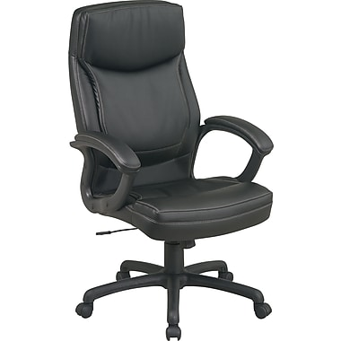 Office Star™Bonded Leather Executive High-Back Chair, Black w/ 2-Tone Stitching
