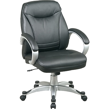 Office Star™ Faux Leather Executive Mid-Back Chair, Black and Silver
