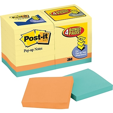 Post-it® 3in. x 3in. Canary Yellow Pop-Up Notes Bonus Pack,  18 Pads/Pack