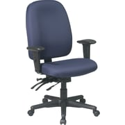 Office Star Ratchet-Back Dual-Function Fabric Task Chair, Adjustable Arms, Blue