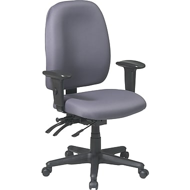 Office Star Ratchet Back Dual Function Fabric Task Chair with Seat Slider, Gray