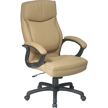 fice Star™ Leather Executive fice Chair Tan Fixed