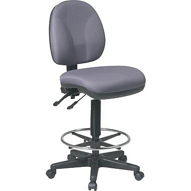 Office Star Deluxe Ergonomic Fabric Drafting Chair, Armless, Gray