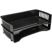 Staples Black Plastic Side-Load Legal Trays (2/Pack)