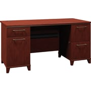 Bush Enterprise 60in. Double Pedestal Desk, Harvest Cherry, Fully Assembled