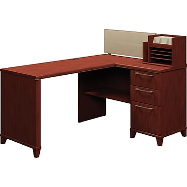 Bush Enterprise Corner Desk Solution, Harvest Cherry, Fully Assembled