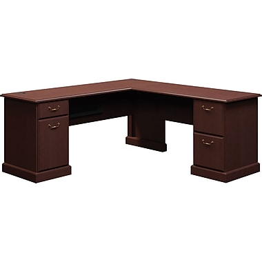 Bush Business Syndicate 72W x 72D L-Desk, Mocha Cherry, Installed
