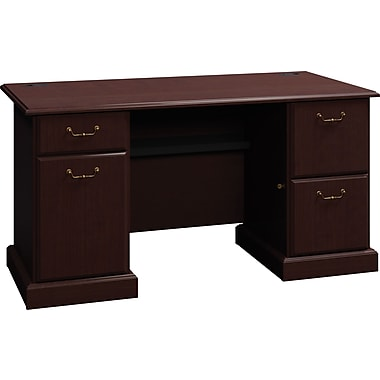 Bush Business Syndicate 60W Double Pedestal Desk, Mocha Cherry, Installed