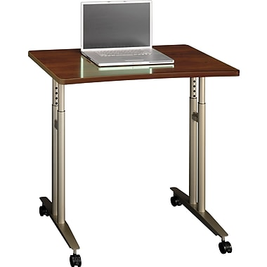 Bush Westfield Adjustable Height Mobile Table, Hansen Cherry/Graphite Gray, Fully Assembled