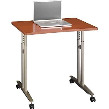 Bush Westfied Adjustable Height Mobile Table, Auburn Maple/Graphite Gray, Fully Assembled