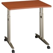 Bush Westfied Adjustable Height Mobile Table, Autumn Cherry/Graphite Gray